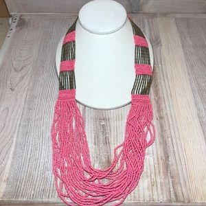 BOHO CORAL/BRASS COLORED BEADED NECKLACE
